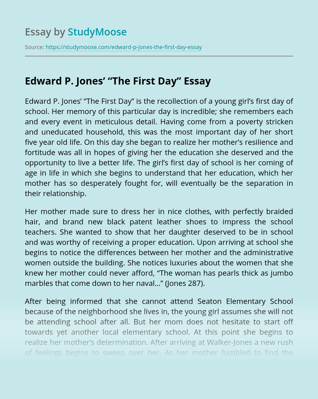 """Edward P. Jones' """"The First Day"""""""