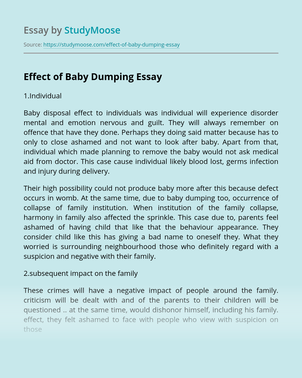 Effect of Baby Dumping