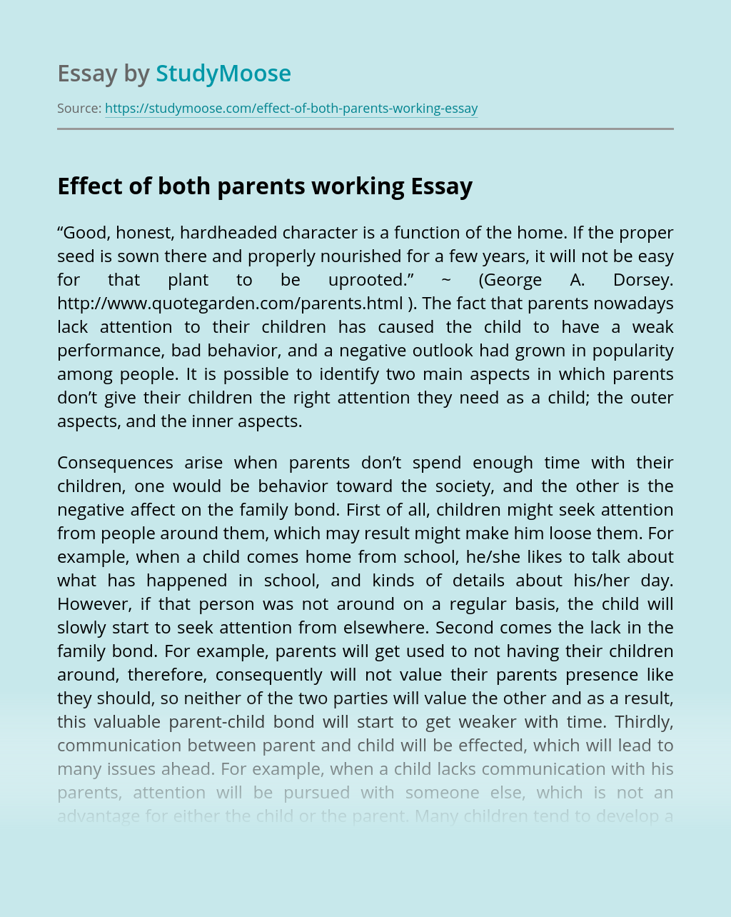 Effect of both parents working