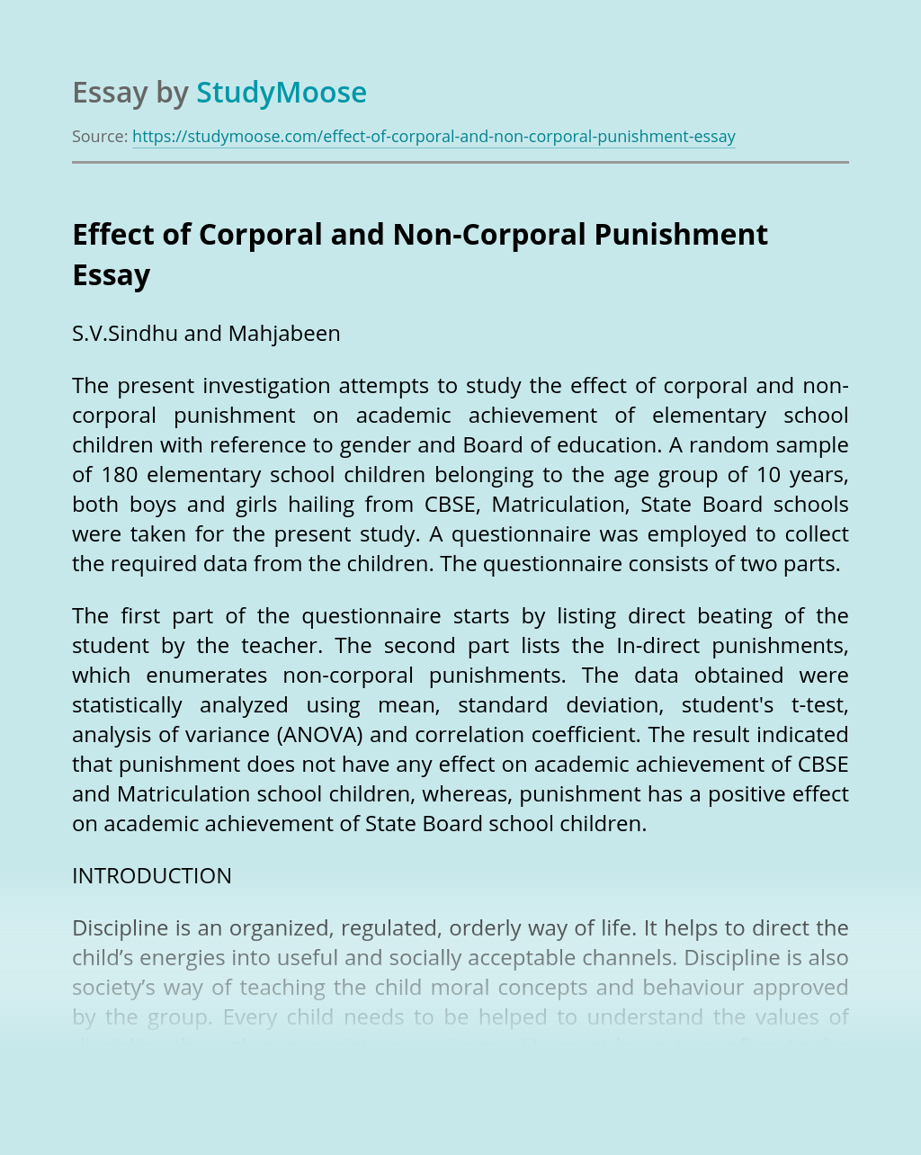 Effect of Corporal and Non-Corporal Punishment