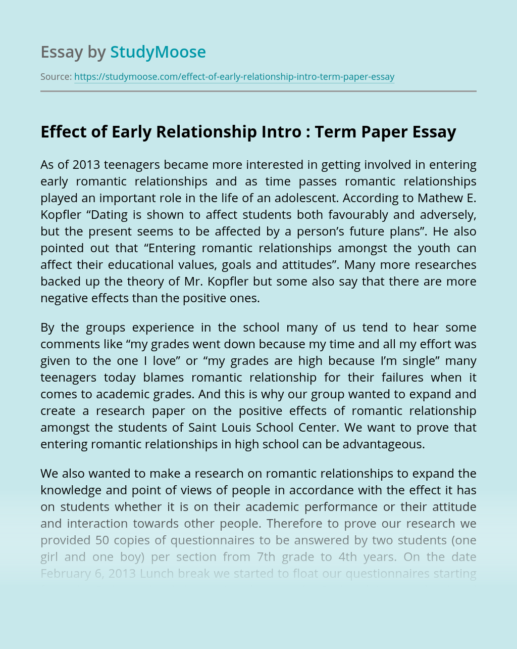 Effect of Early Relationship Intro : Term Paper