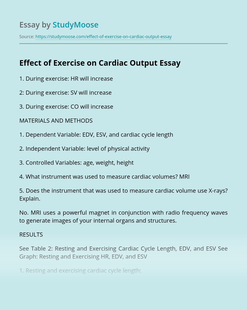 Effect of Exercise on Cardiac Output