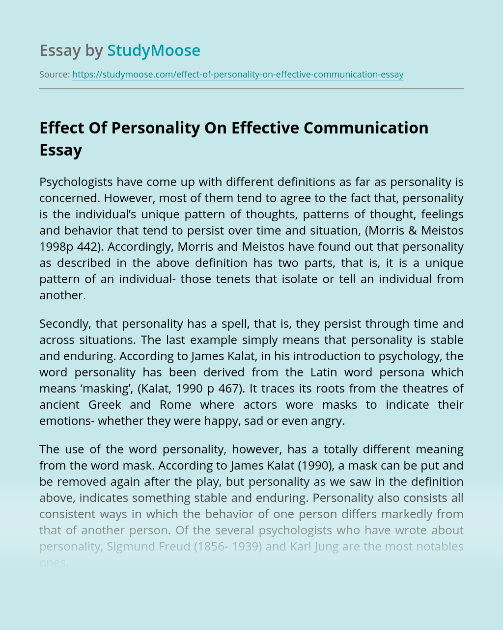 Effect Of Personality On Effective Communication