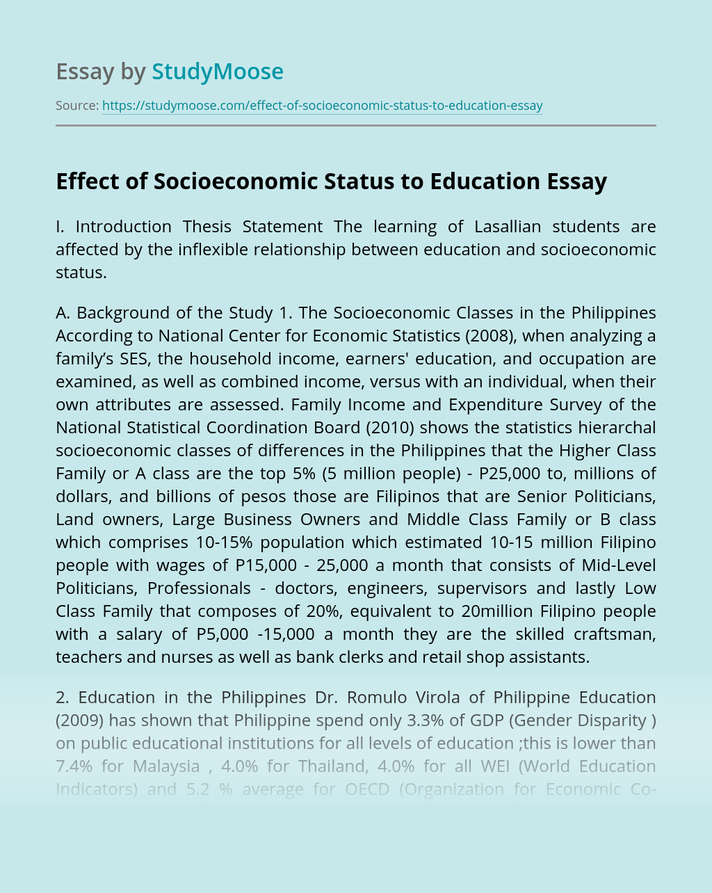 Effect of Socioeconomic Status to Education