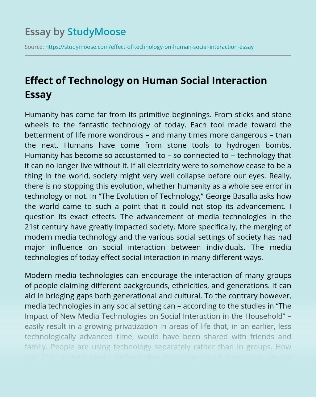 Effect of Technology on Human Social Interaction