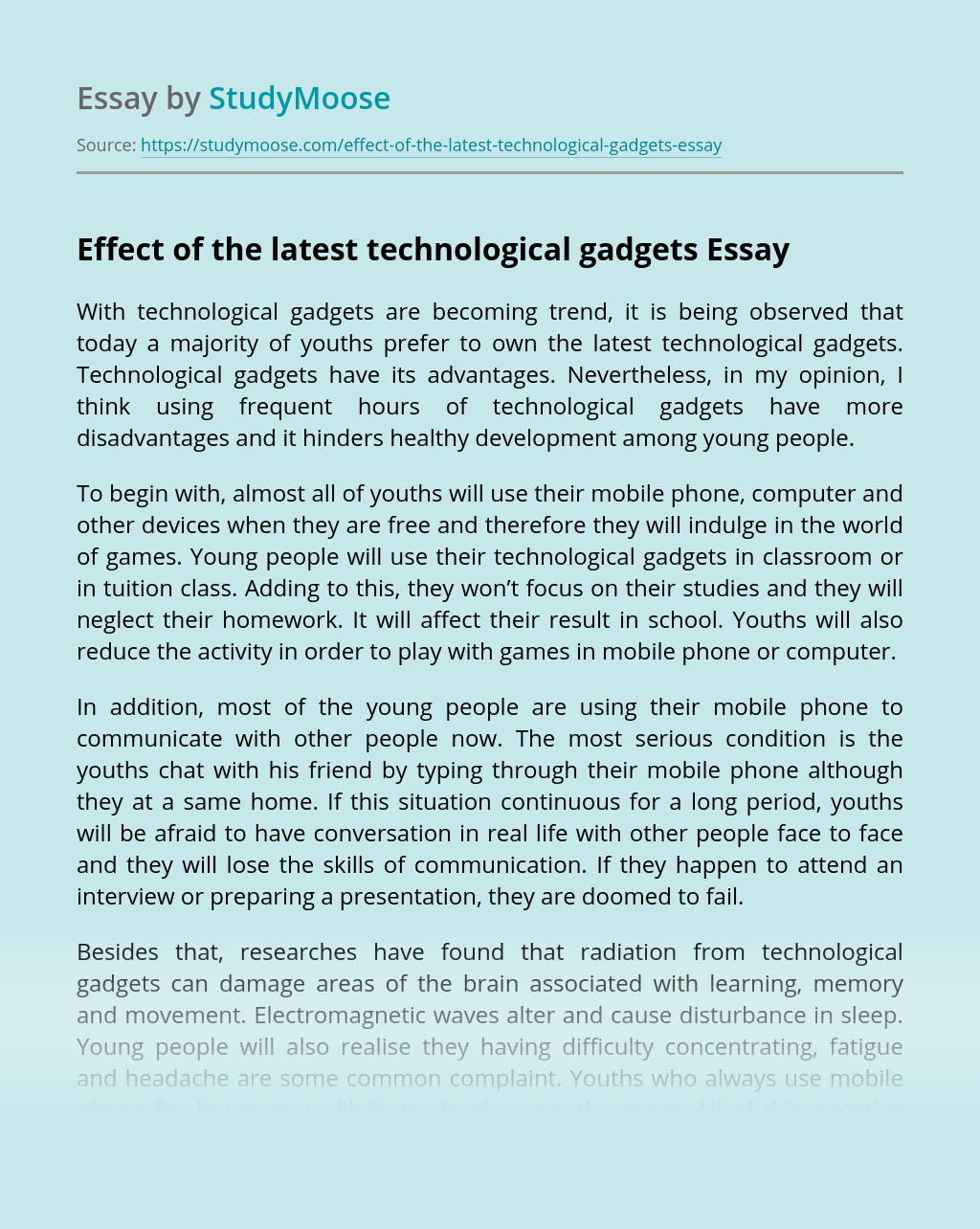 Effect of the latest technological gadgets