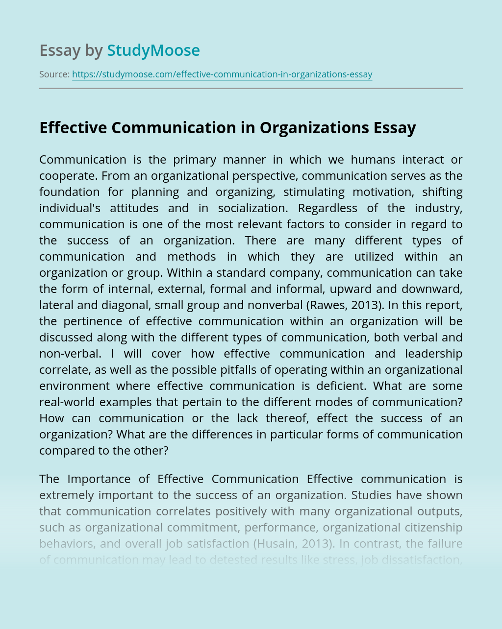 Effective Communication in Organizations