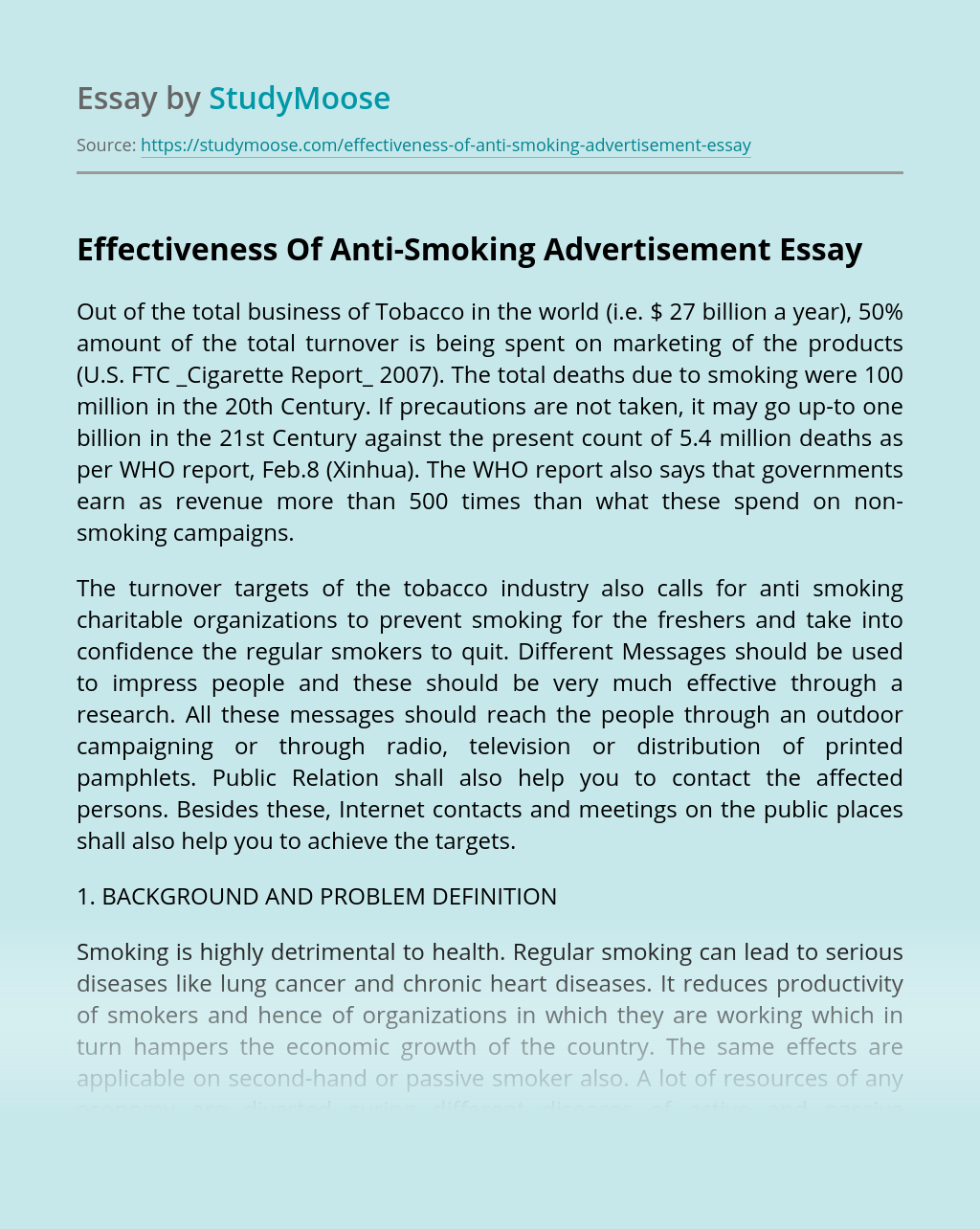 Effectiveness Of Anti-Smoking Advertisement