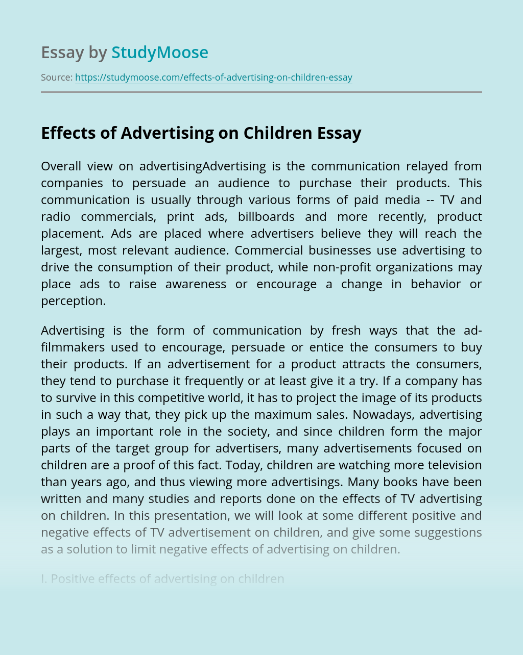 Effects of Advertising on Children