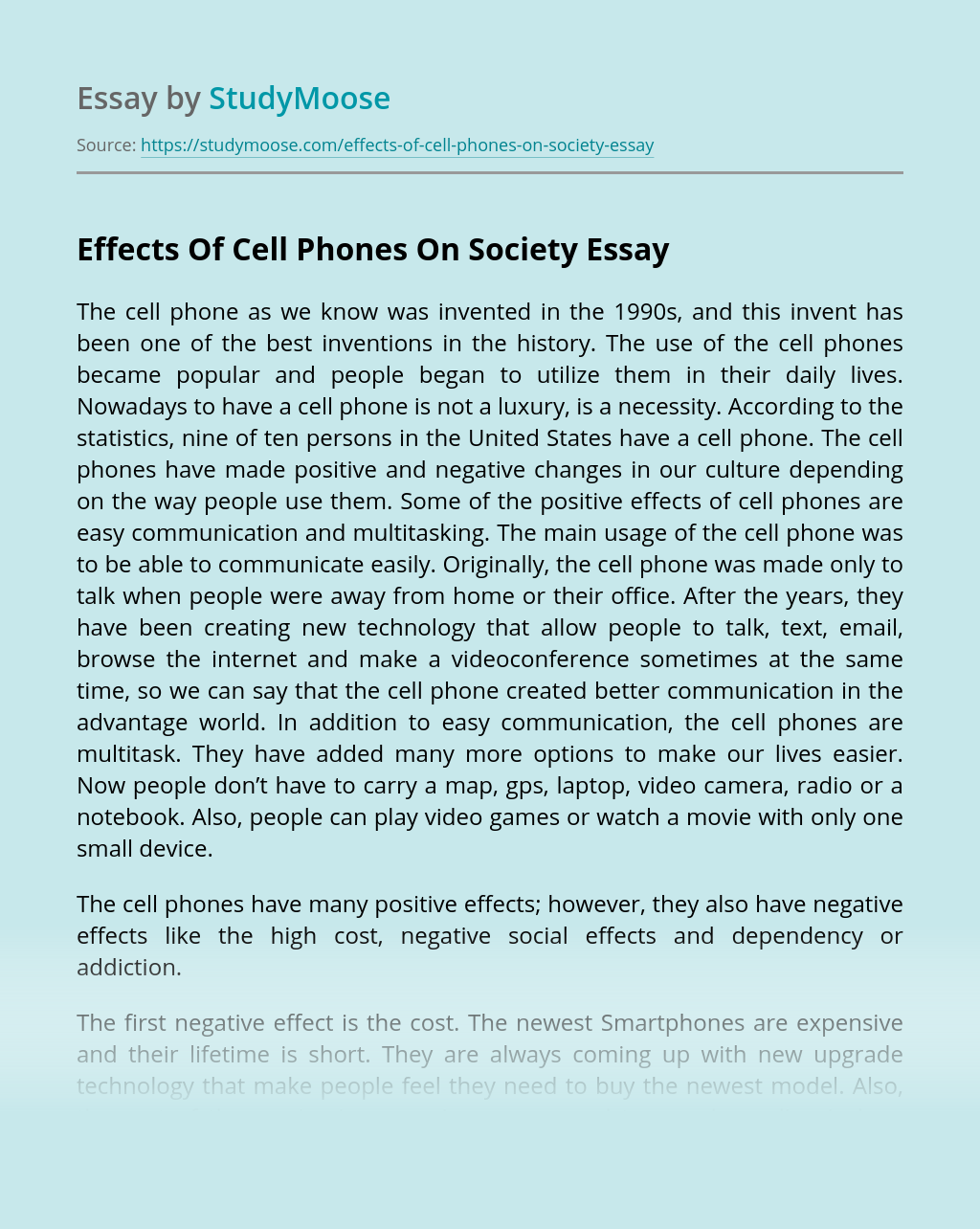 Effects Of Cell Phones On Society
