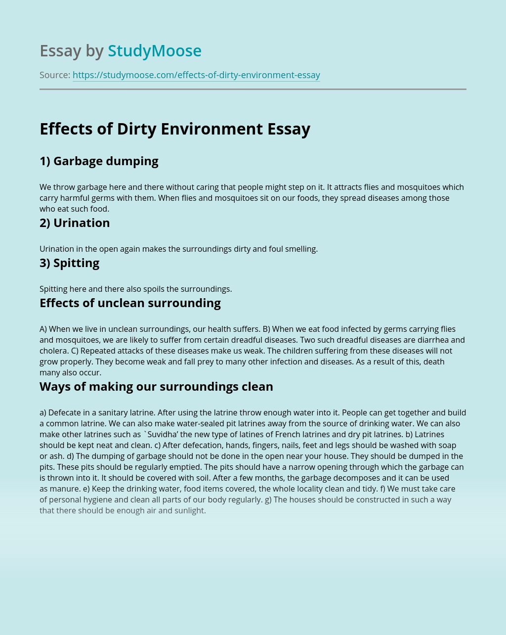 Effects of Dirty Environment