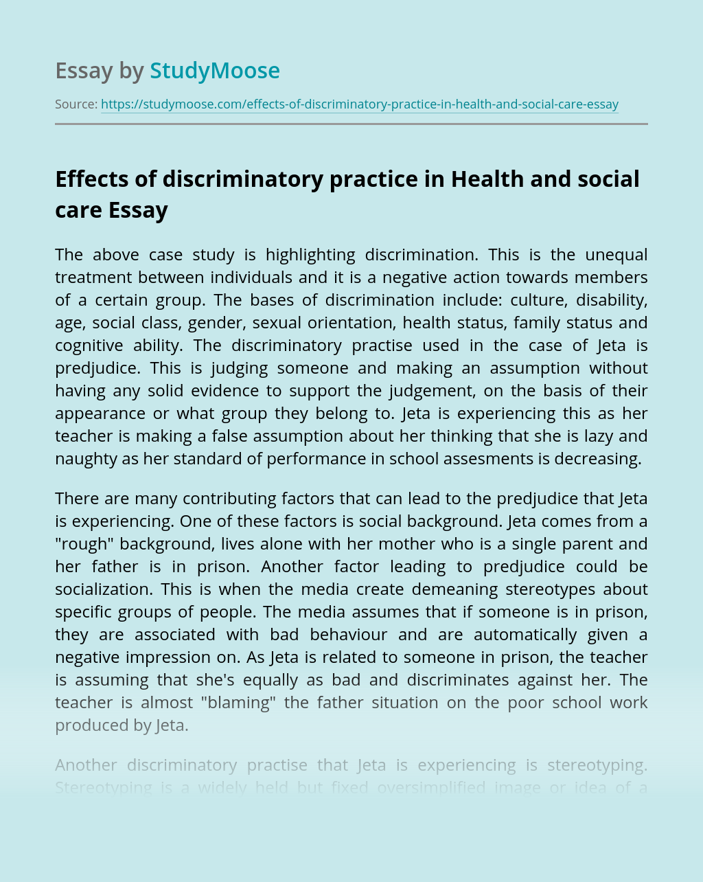 Effects of discriminatory practice in Health and social care