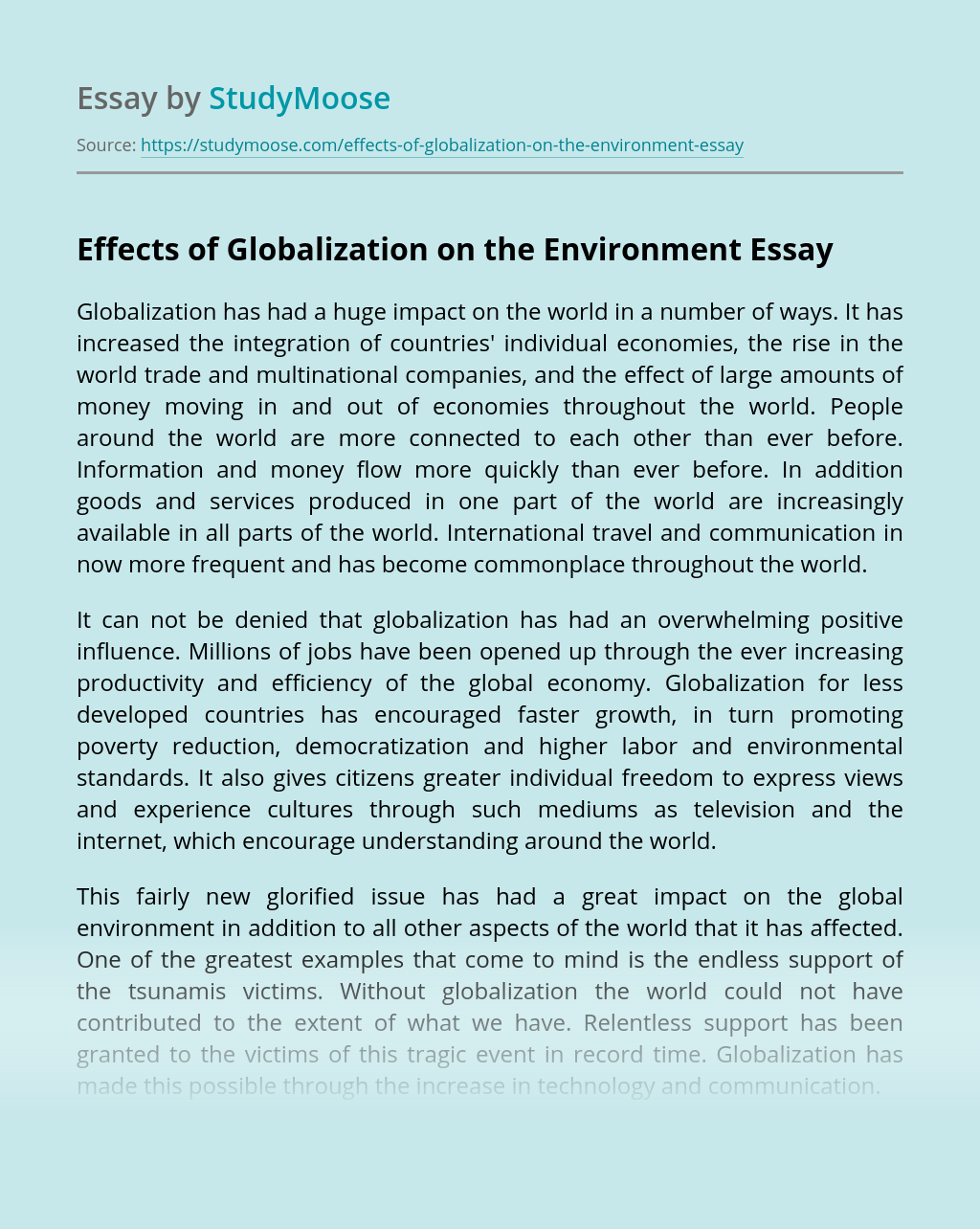 Effects of Globalization on the Environment