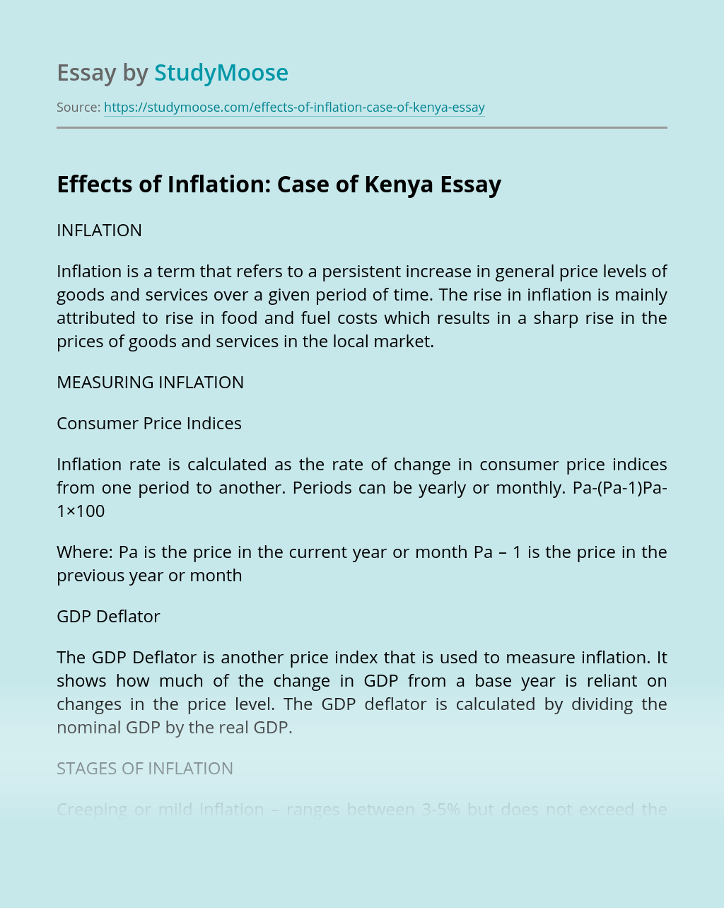 Effects of Inflation: Case of Kenya