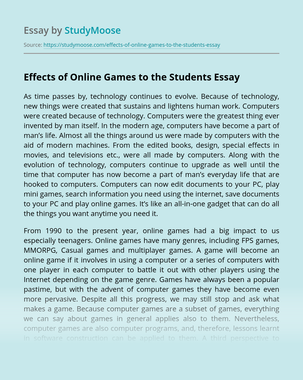 Effects Of Online Games To The Students Free Essay Example