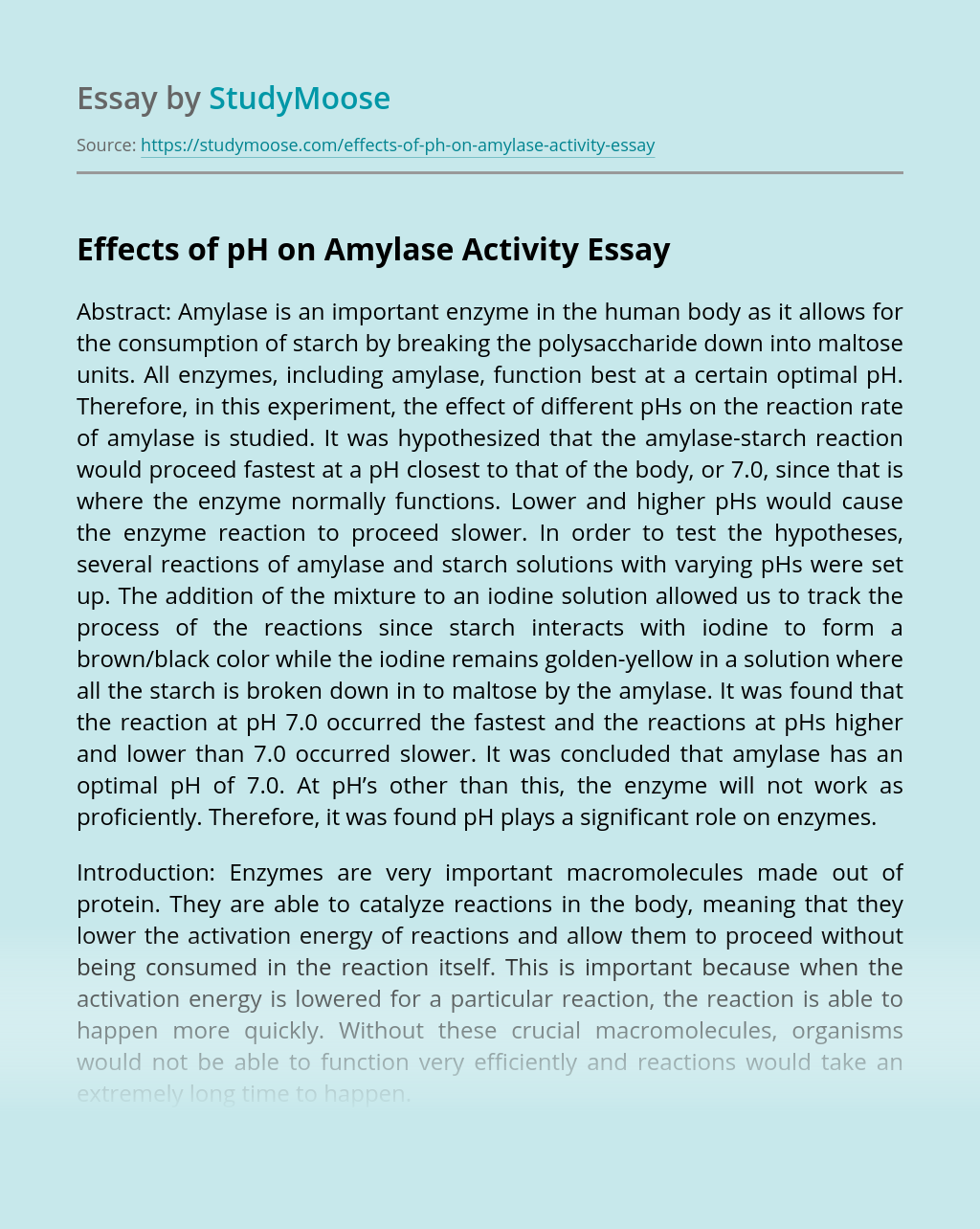 Effects of pH on Amylase Activity