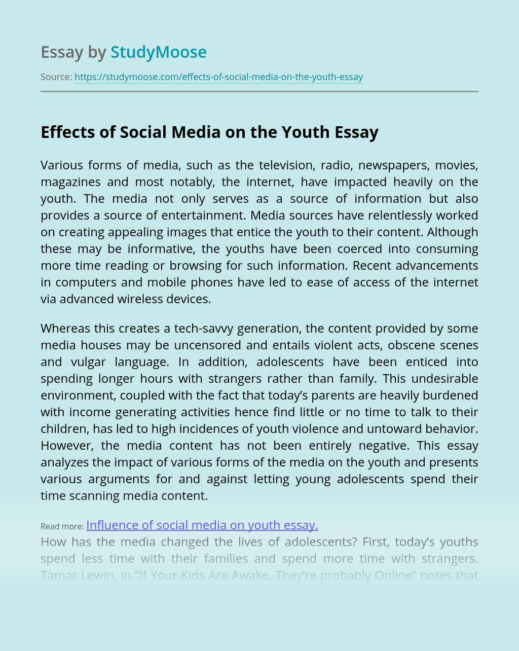 Effects of Social Media on the Youth