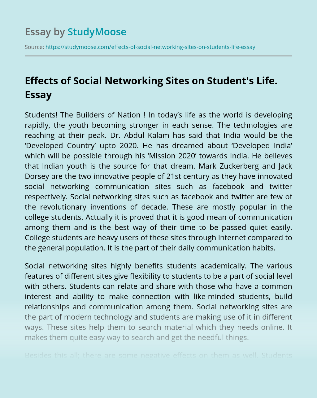Effects of Social Networking Sites on Student's Life.