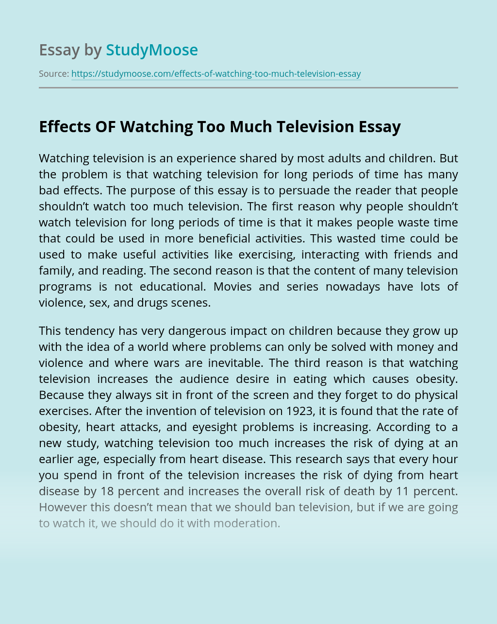 Effects OF Watching Too Much Television