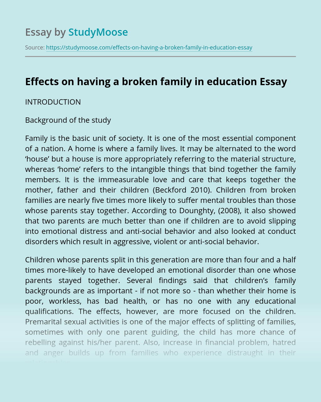 Effects on having a broken family in education