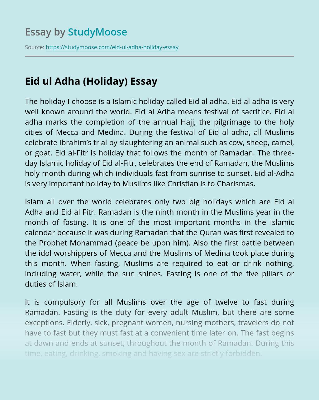 Eid ul Adha (Holiday)