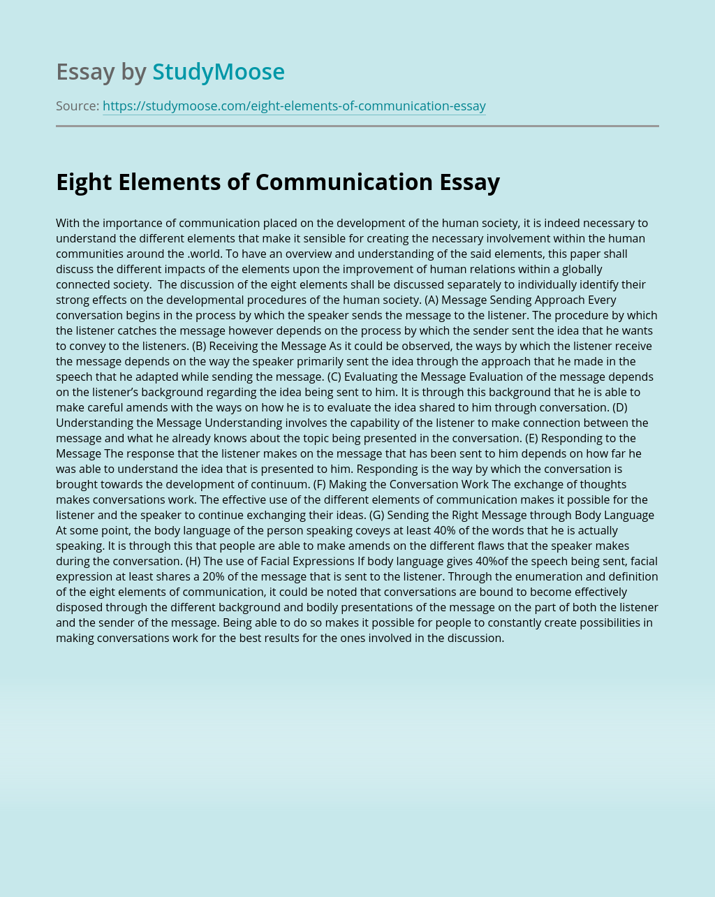 Eight Elements of Communication