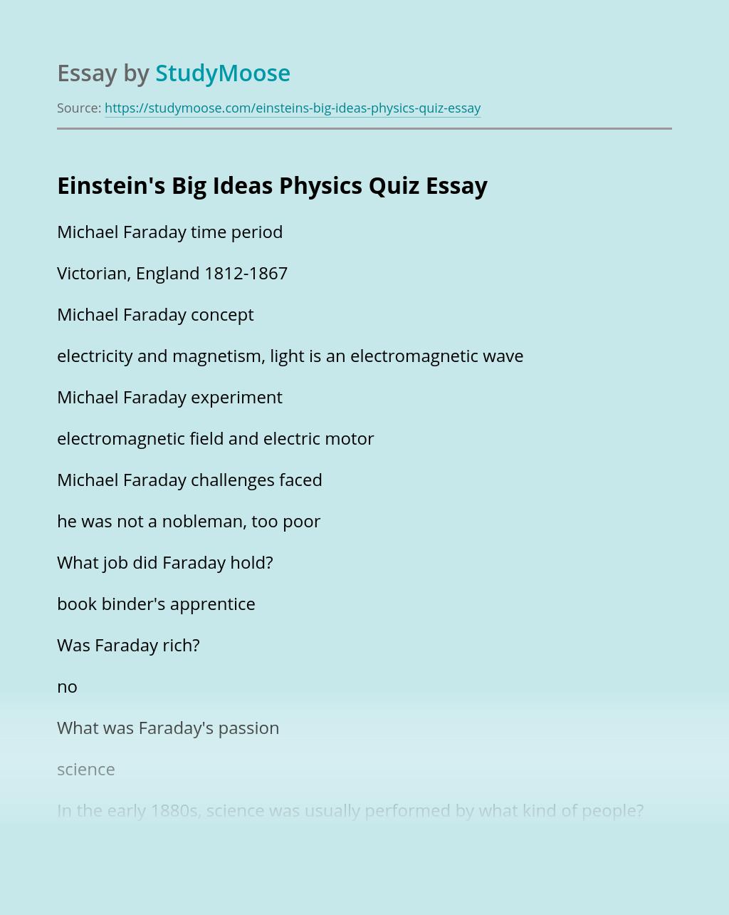 Einstein's Big Ideas Physics Quiz