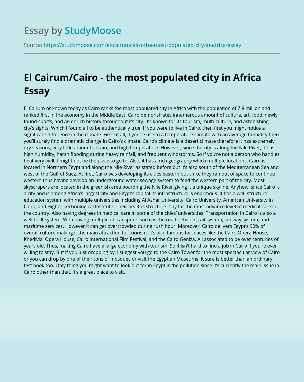 El Cairum/Cairo -  the most populated city in Africa