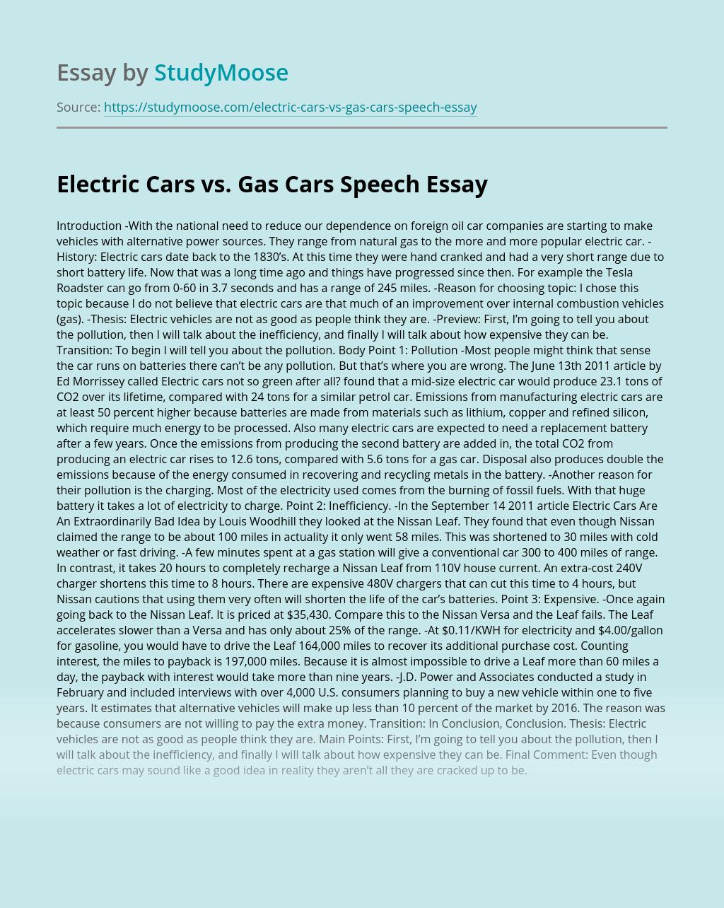 Electric Cars vs. Gas Cars Speech