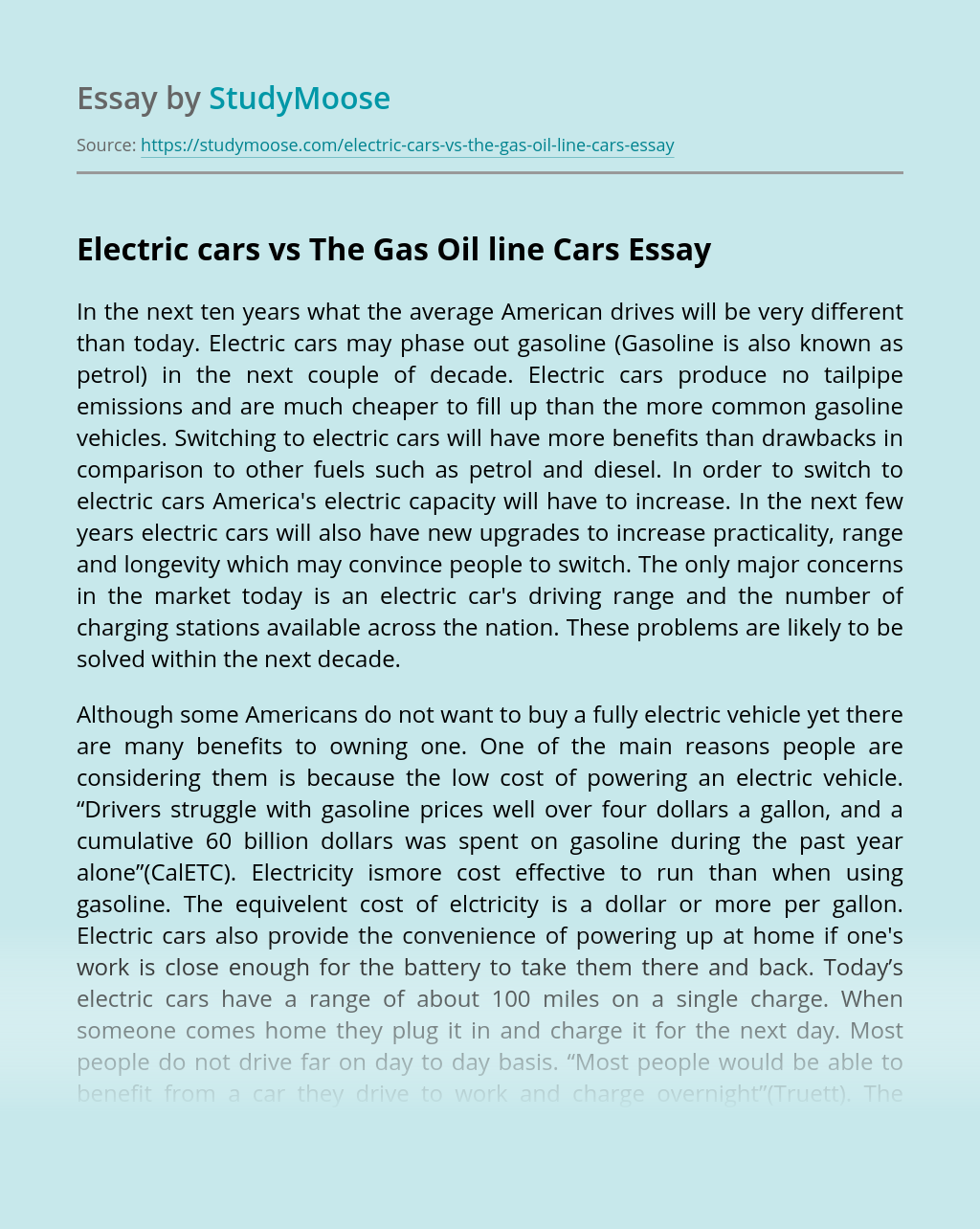 Electric cars vs The Gas Oil line Cars