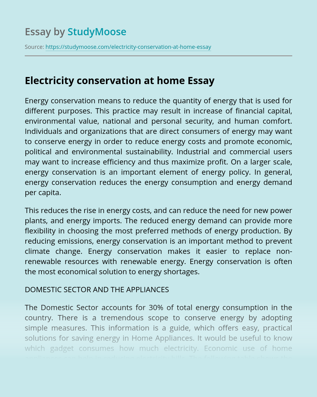 Electricity conservation at home