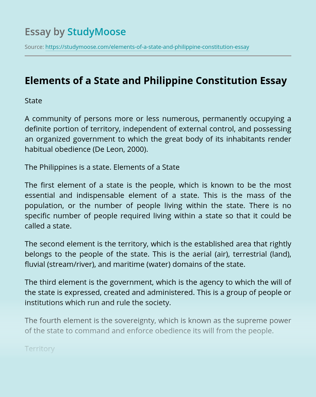 Elements of a State and Philippine Constitution