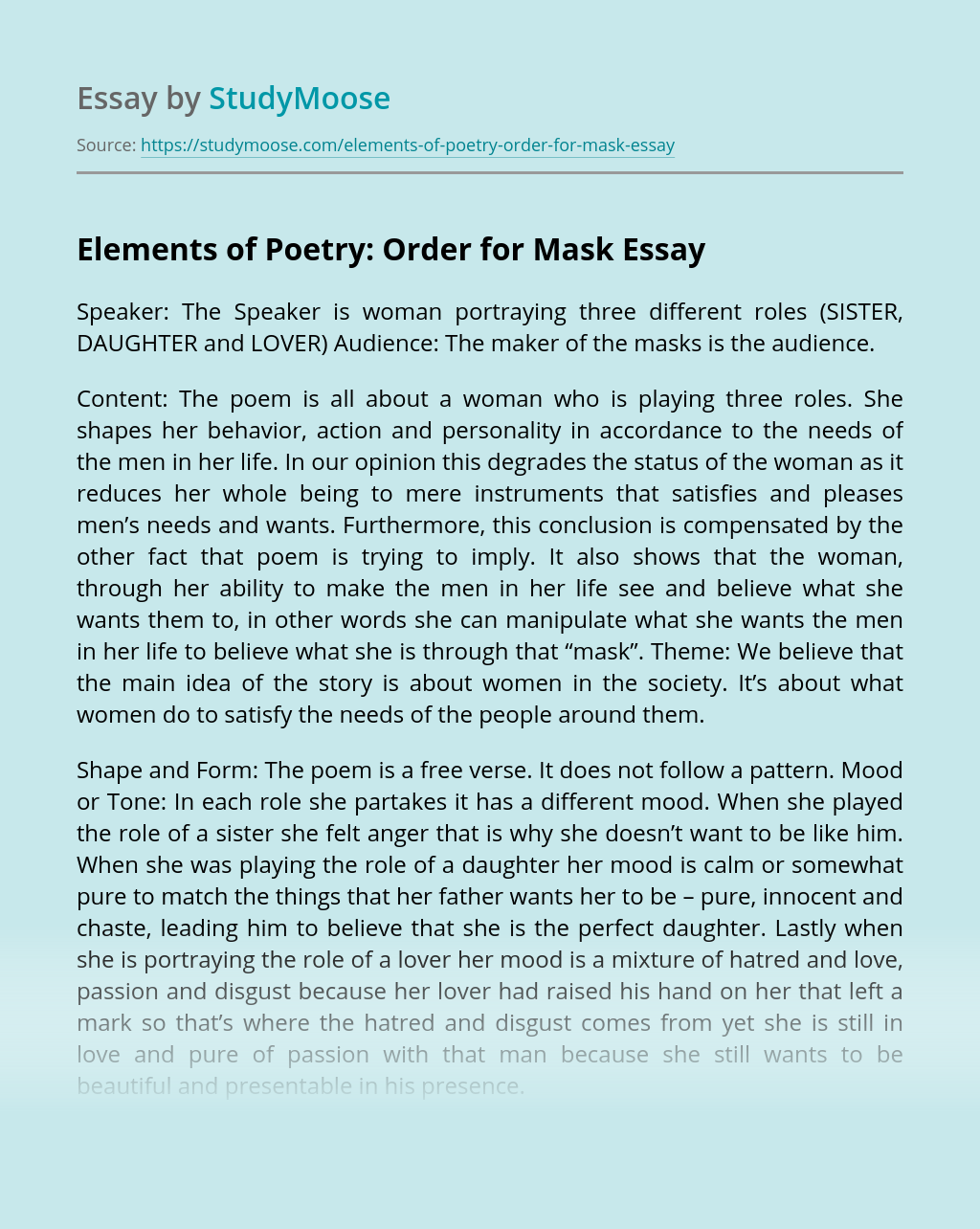 Elements of Poetry: Order for Mask