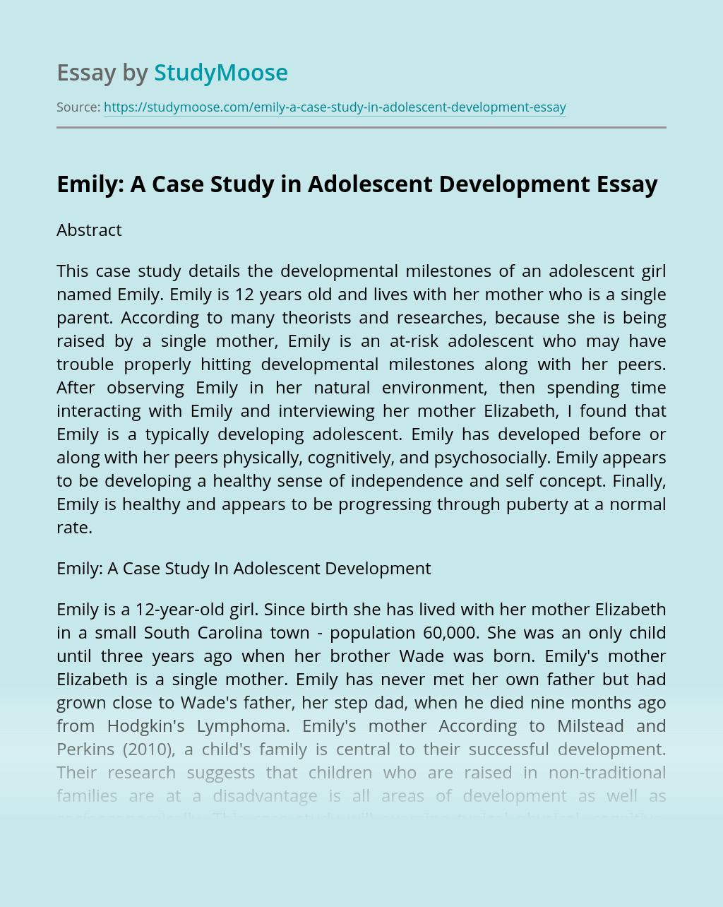 Emily: A Case Study in Adolescent Development