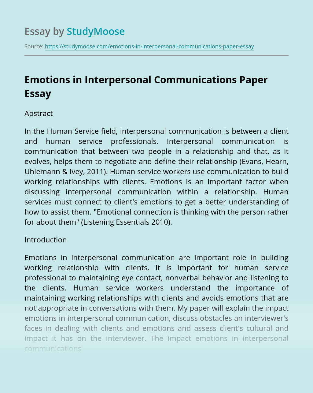 Emotions in Interpersonal Communications Paper