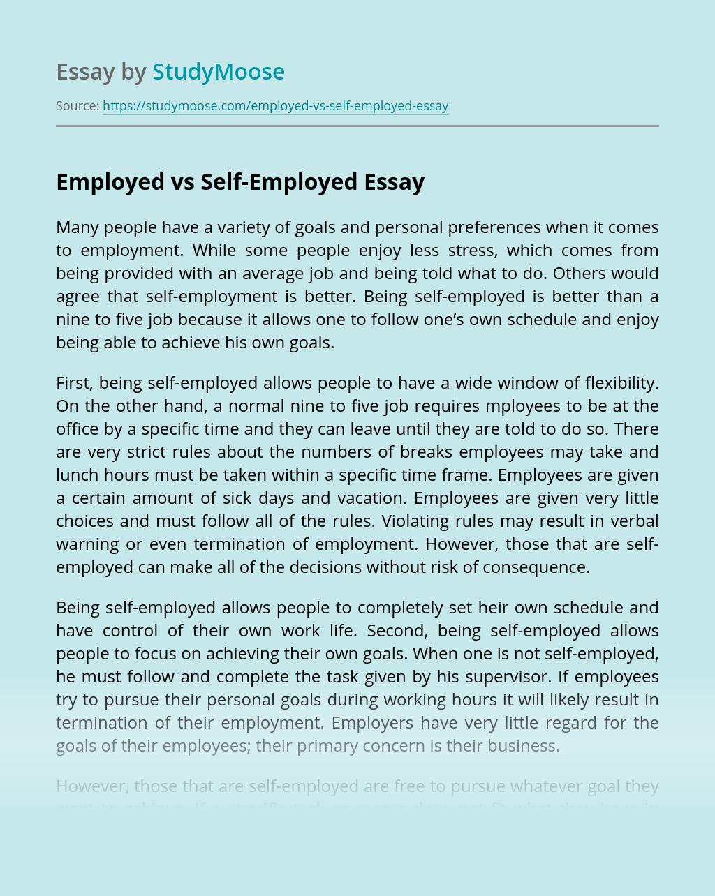 Employed vs Self-Employed