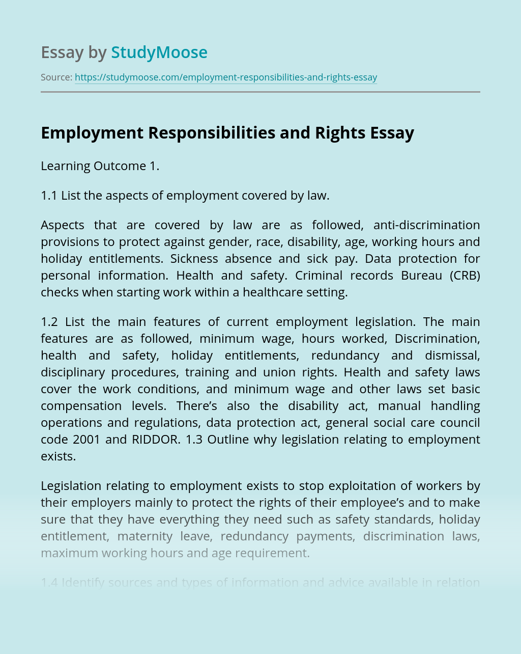 Employment Responsibilities and Rights