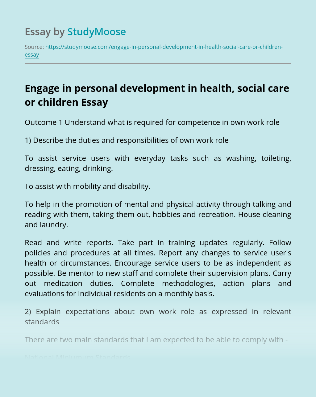 Engage in personal development in health, social care or children