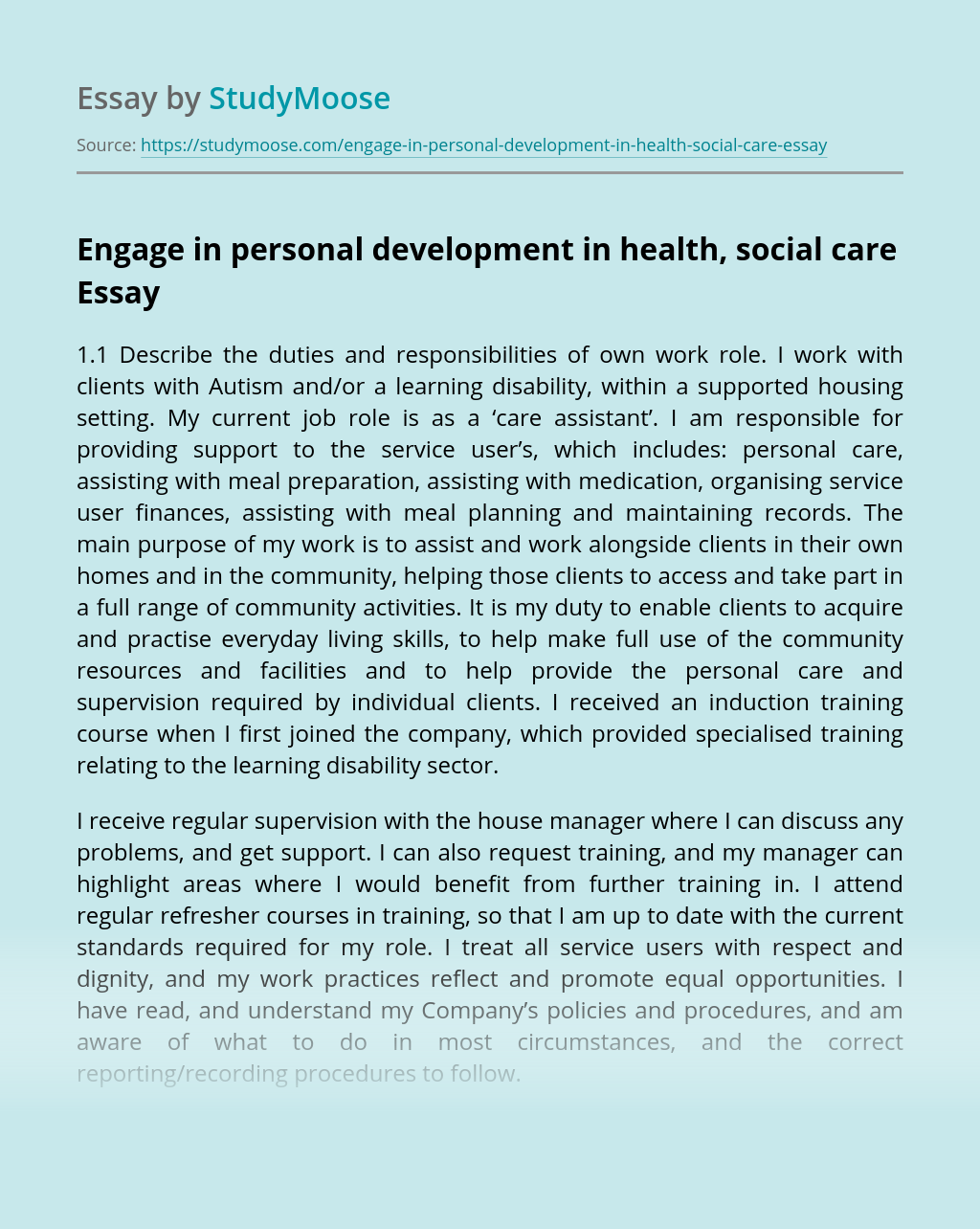 Engage in personal development in health, social care