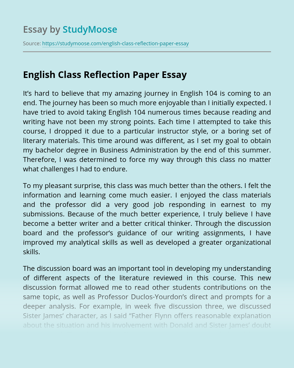 English Class Reflection Paper