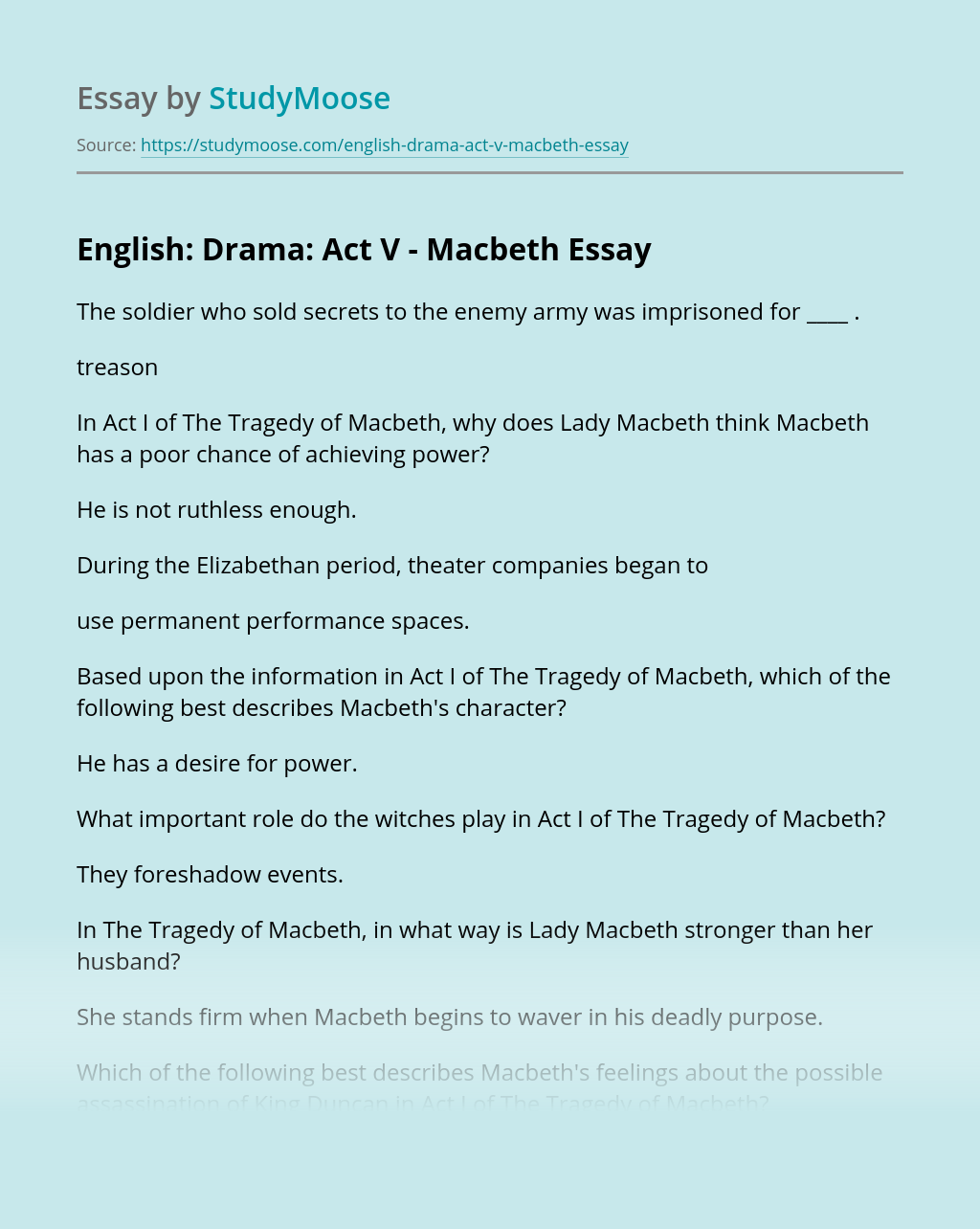 English: Drama: Act V – Macbeth
