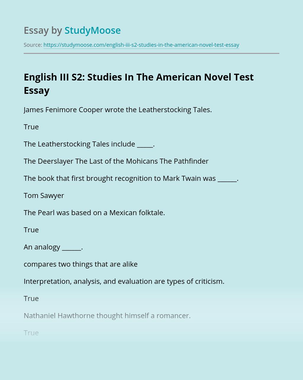 English III S2: Studies In The American Novel Test