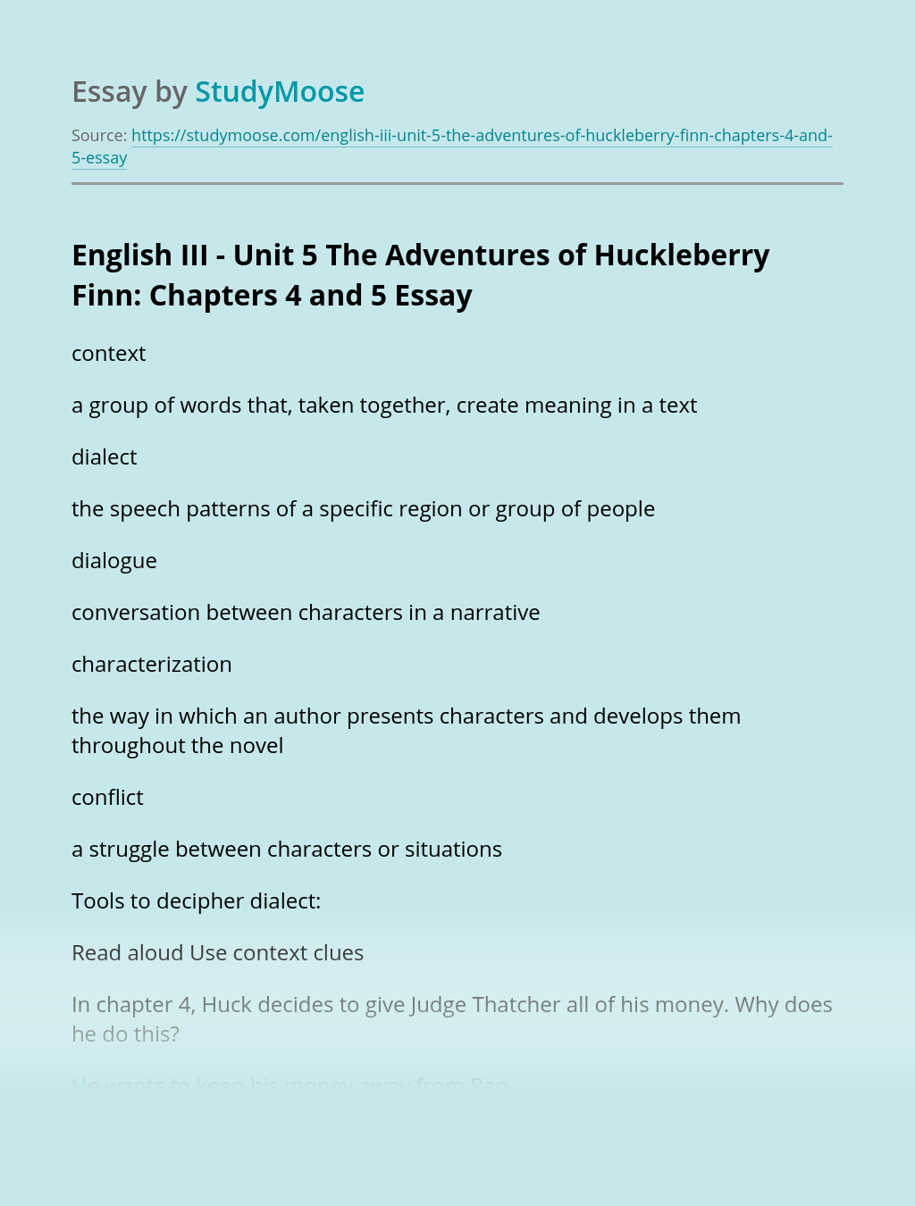 English III - Unit 5  The Adventures of Huckleberry Finn: Chapters 4 and 5