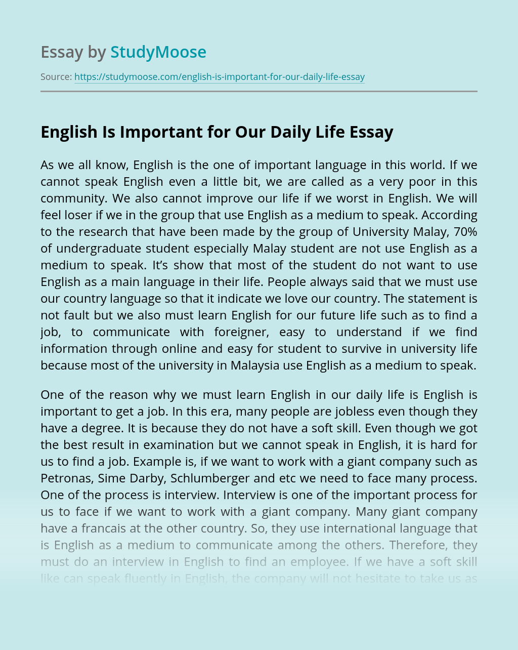 English Is Important for Our Daily Life
