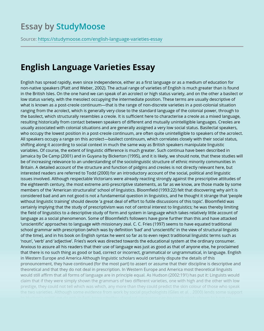 English Language Varieties