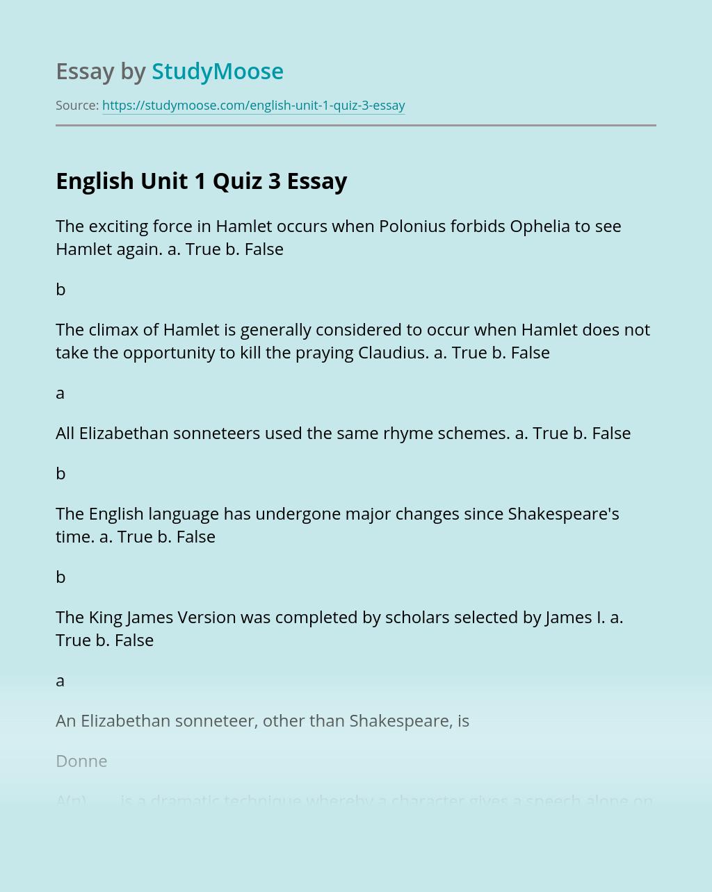 English Unit 1 Quiz 3