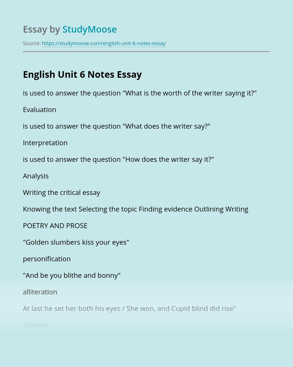 English Unit 6 Notes