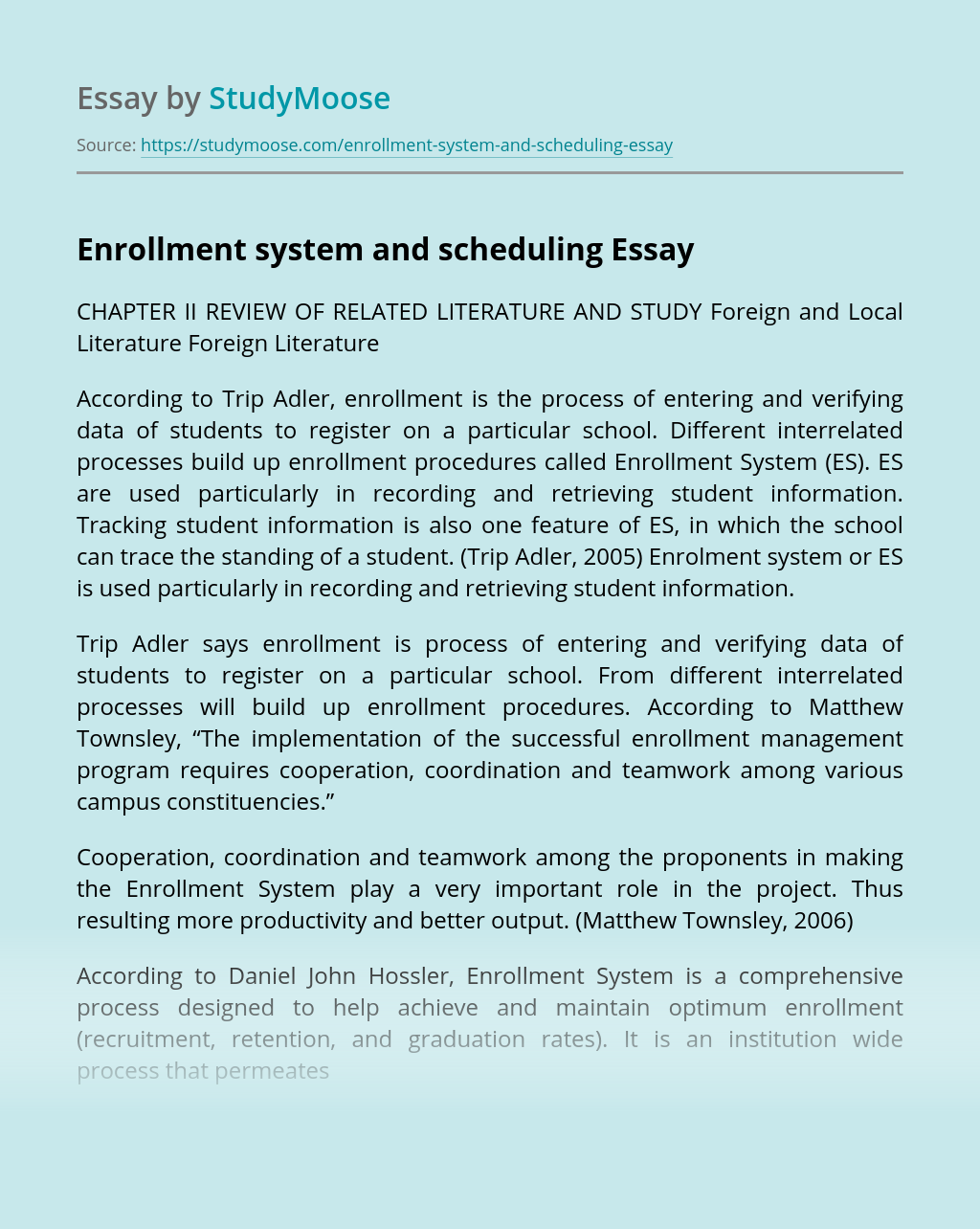 Enrollment System and Scheduling