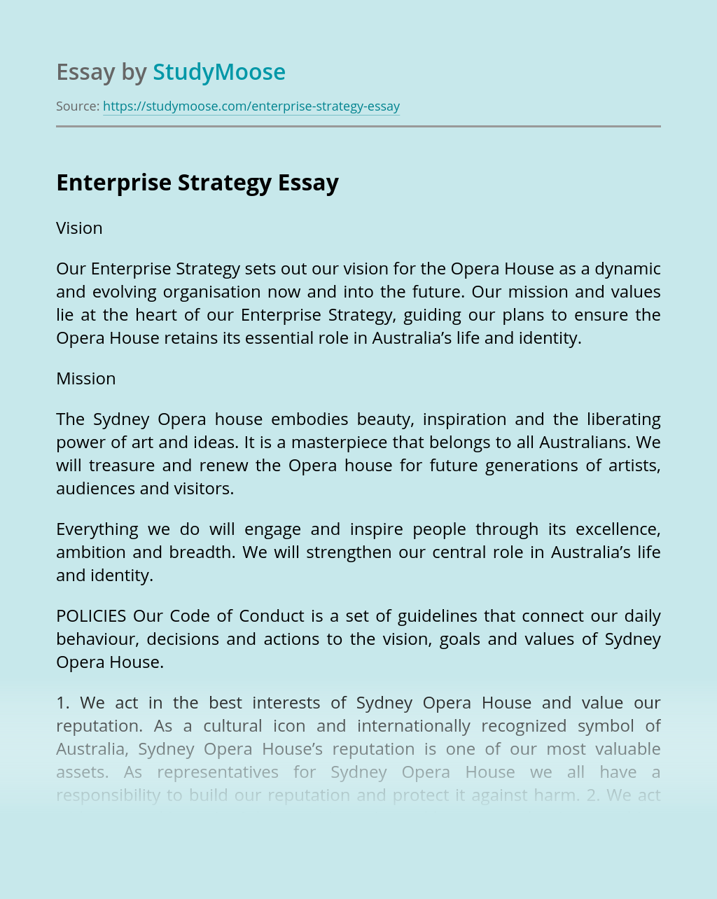 Enterprise Strategy of The Sydney Opera house