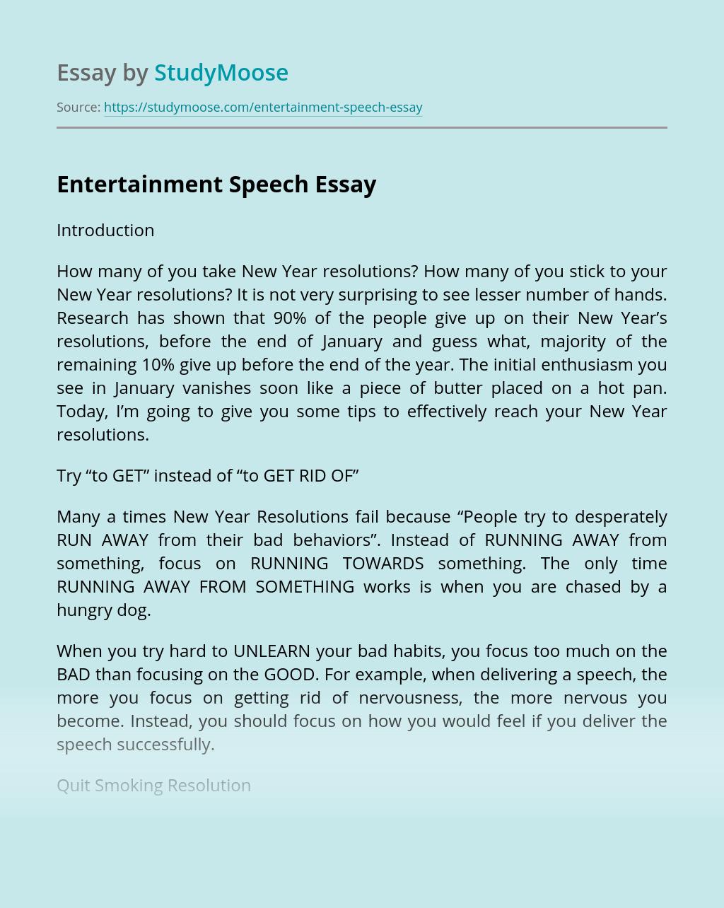Entertainment Speech